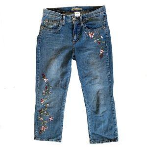 Z. Cavaricci Embroidered High Waist Crop Jeans 10